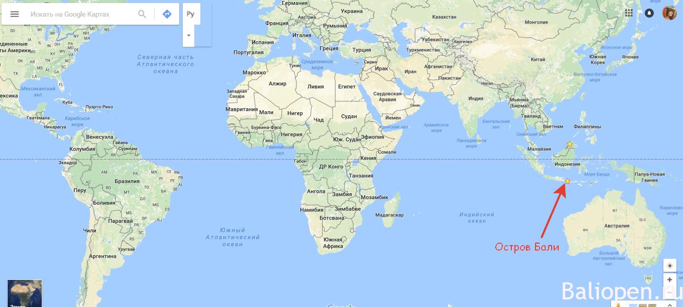 Бали на карте мира