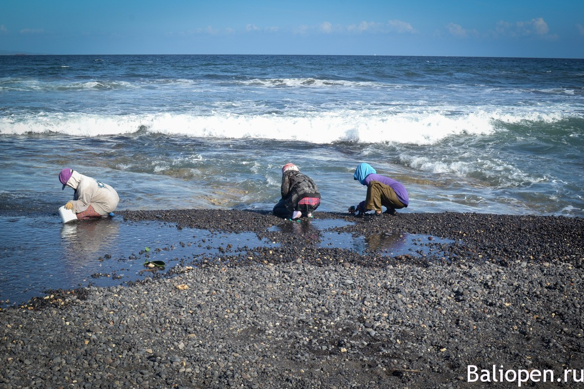 Живописный пляж с черным песком на Бали